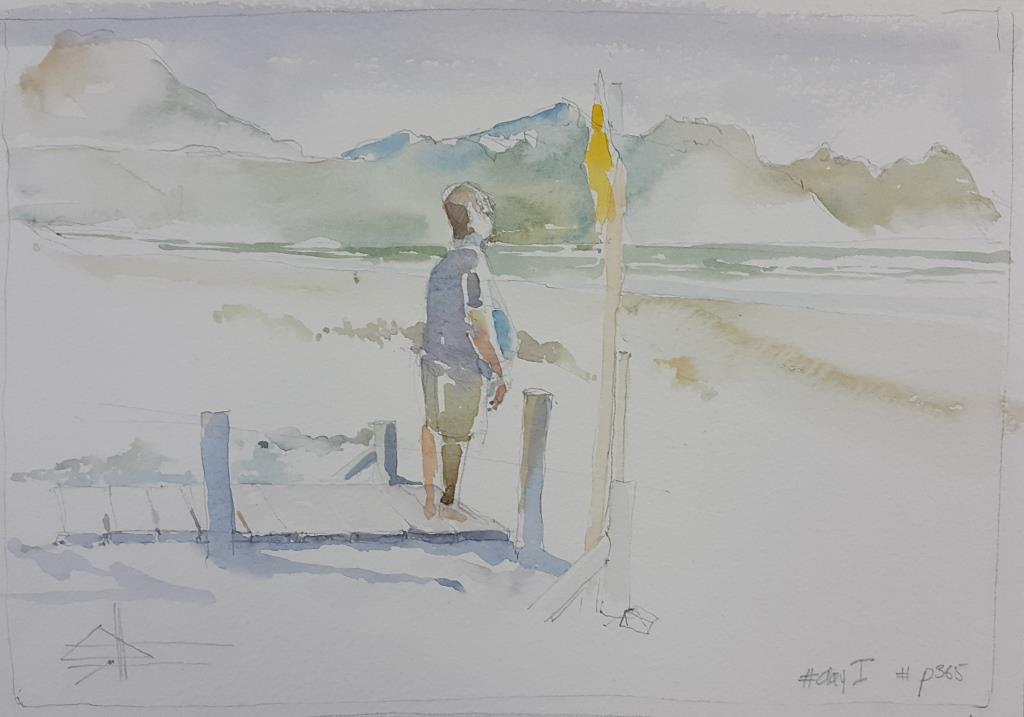 Watercolour seascape beach painting at The Pipe