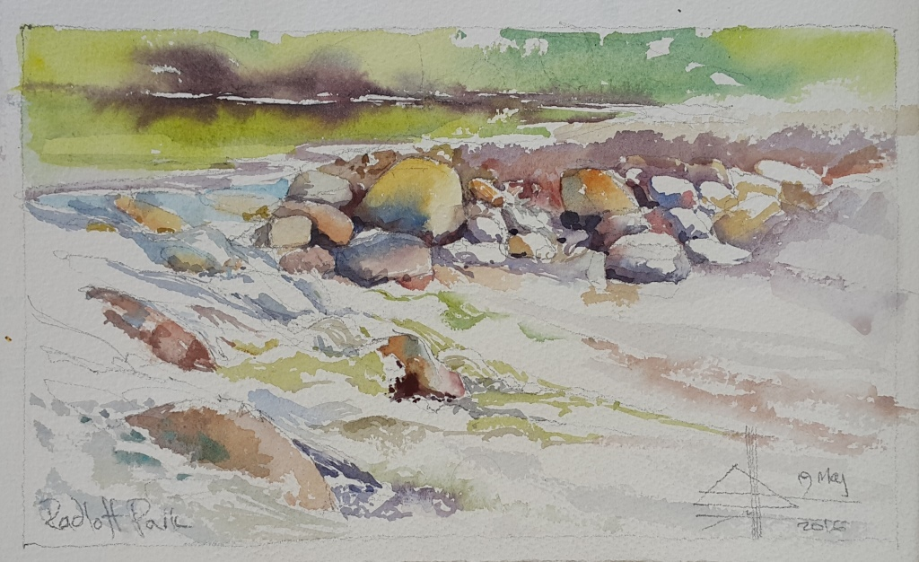 Watercolour River Landscape - Radloff Park - The impeded stream