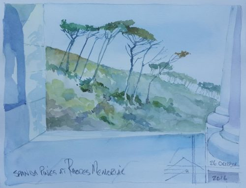 Painting of the day:  #day 271 – Spanish Pines at Rhodes Memorial