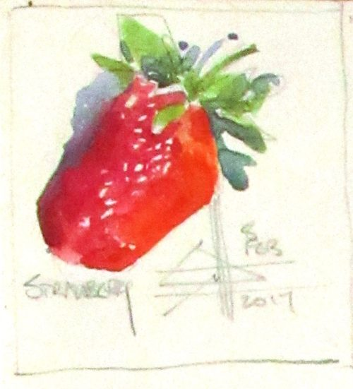 painting of a strawberry