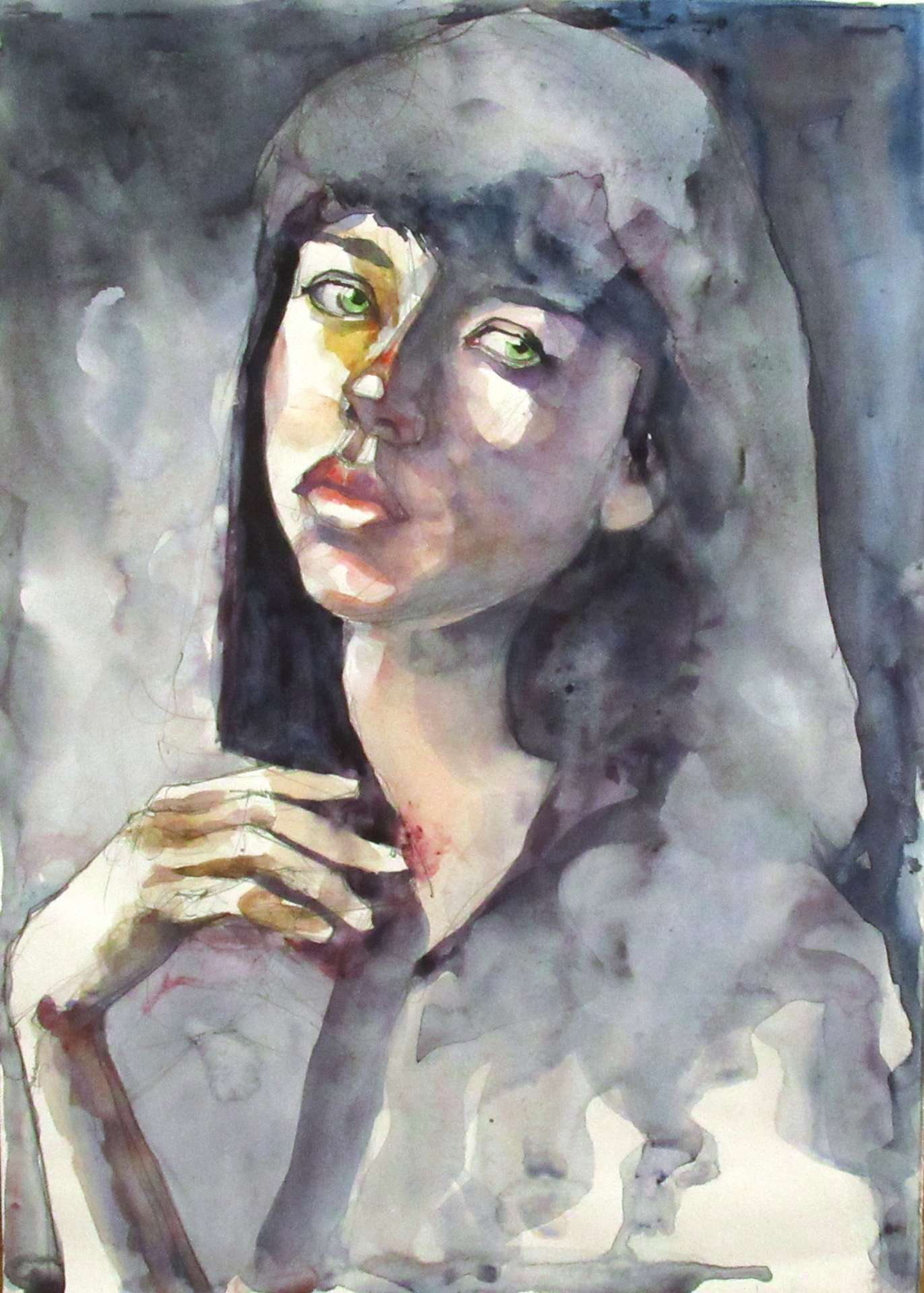 Portrait#6 - Reproduction. A watercolour portrait of a young woman with dark hair and green eyes.