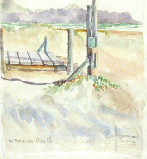 The Pipe Beach - the boardwalk Watercolour