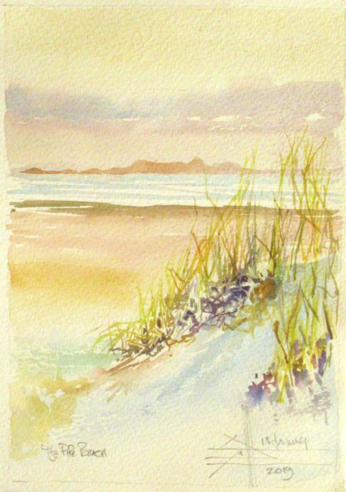 Dune grass and the mountain above Simons Town on the other side of False Bay. Watercolour