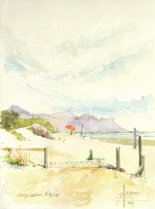 Boardwalk at The Pipe with an orange umbrella. Watercolour