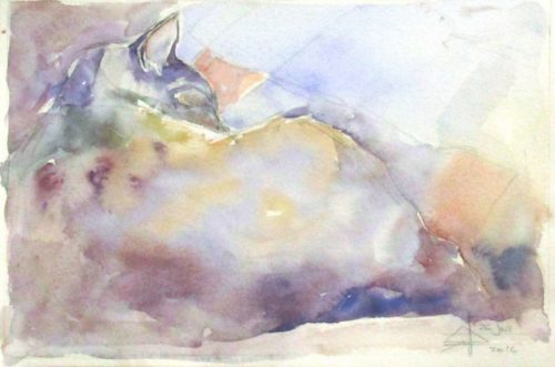 KitKat#2 - Original Watercolour on 300gm Bockingford Cold Pressed Size: 180 x 270 mm. Katniss the cat asleep