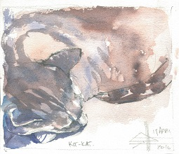 A watercolour painting of the cat - KitKat