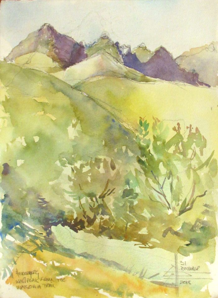 West Peak from the Watsonia trail - watercolor