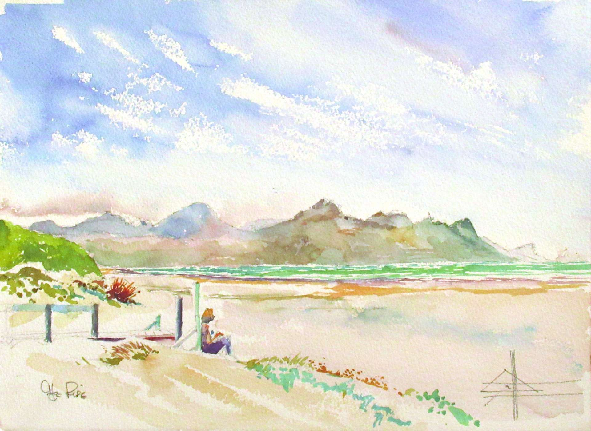 The Boardwalk at the Pipe on Strand Beach Watercolour