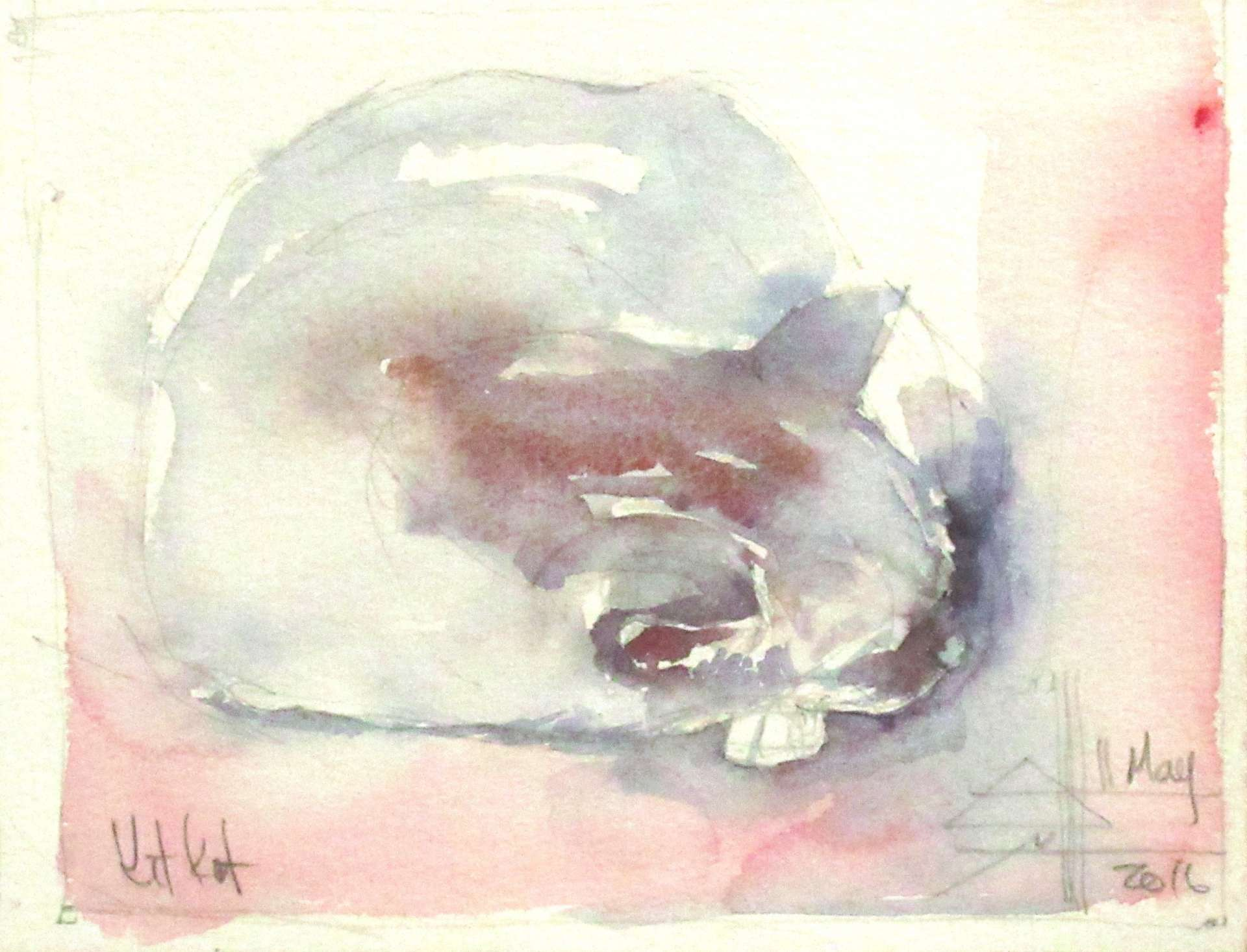 A watercolour painting of the cat - KitKatKatniss the cat asleep