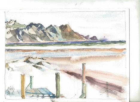 Watercolour of The Pipe Beach - Strand Western Cape