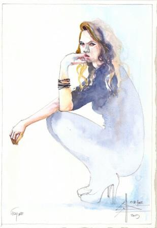 watercolour painting of a girl