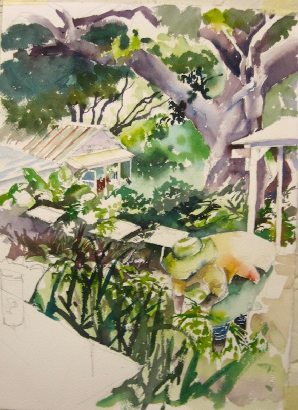 Green With Envy - Original. A painting of a nursery in Durban, Kwa-Zulu Natal.