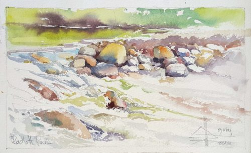 Lourens River #1. A watercolour painting of the river at the local dog park.