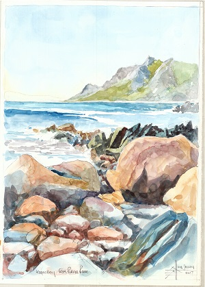 Watercolour painting of Kogel Bay from Clarence Drive
