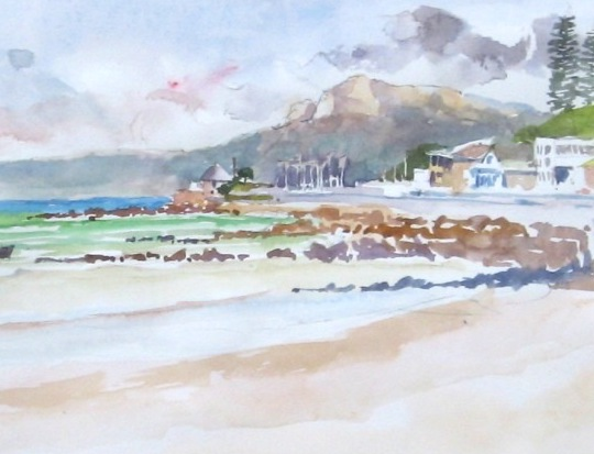 A watercolor painting of two locals at Muizenberg Beach in the Western Cape, chatting about the break.