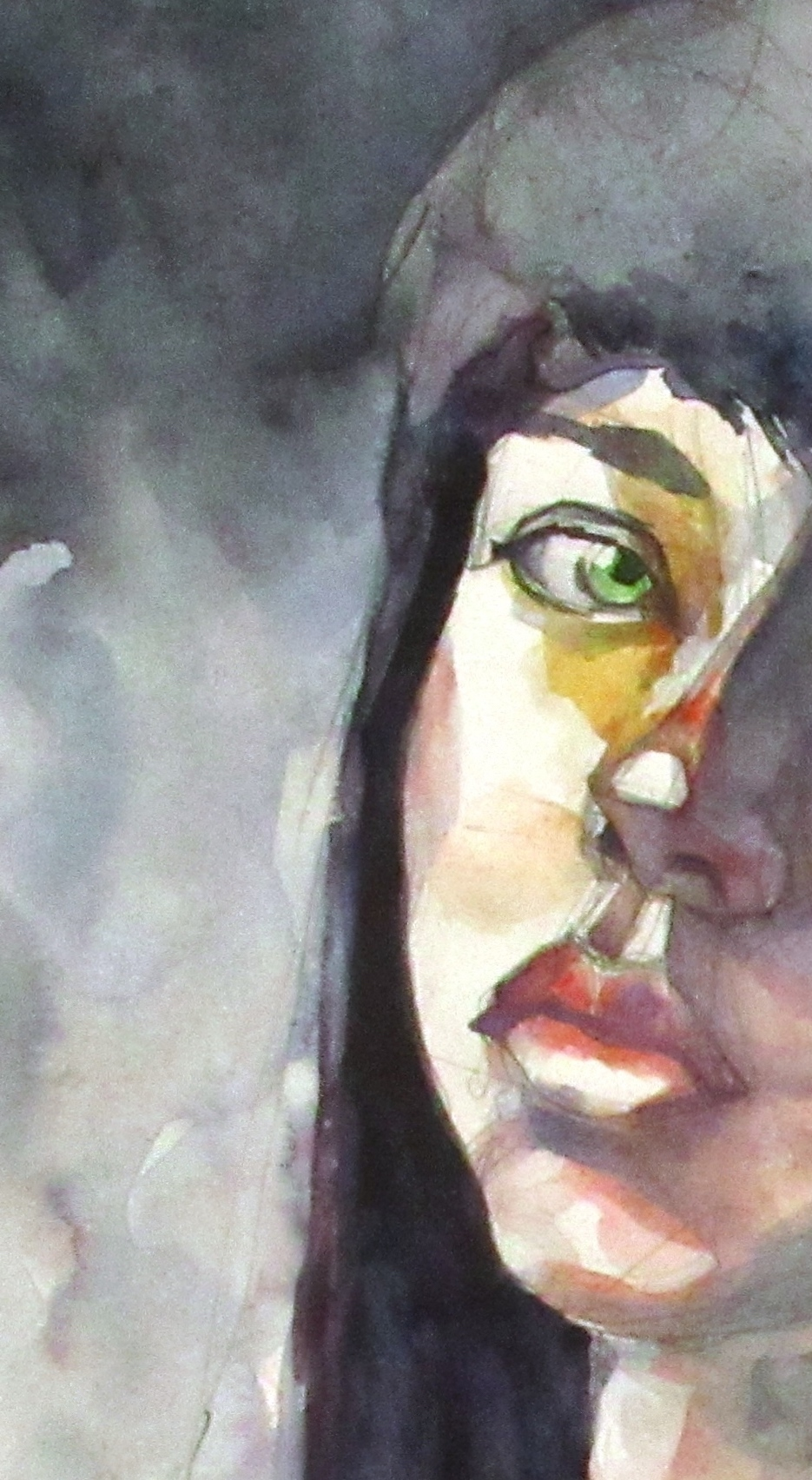 A watercolour portrait of a young woman with dark hair and green eyes.