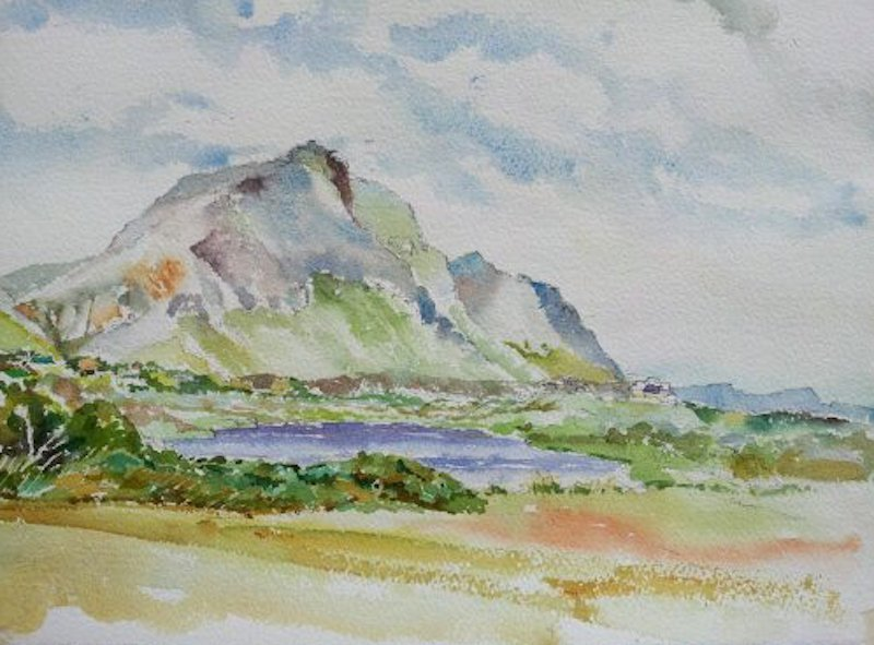 Bass Lake #1 - Original. Watercolour on Arches Rough 300gm. Size:  280 x 380mm. A painting of Bass lake in Somerset West.
