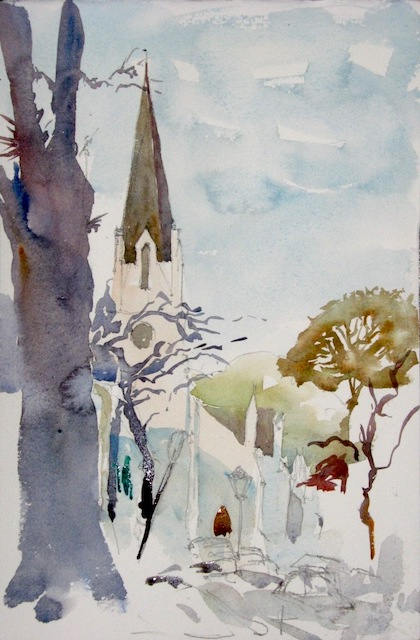 Moederkerk, Stellenbosch - Reproduction Size:  A5 * This is a watercolour painting of Moederkerk, Stellenbosch, painted in 2010.