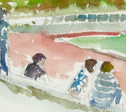 A watercolour painting of Coetzenberg Stadium in Stellenbosch.