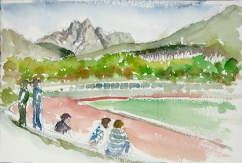 Coetzenberg #1 - Reproduction. A watercolour painting of Coetzenberg Stadium in Stellenbosch.