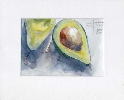watercolour painting of an avo