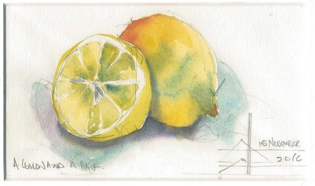Watercolour painting of a lemon cut in half