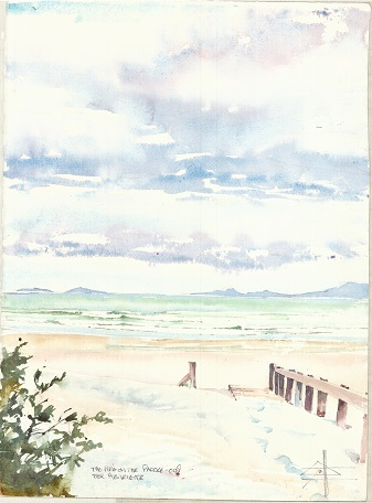 Watercolour painting of The Pipe - Strand Western Cape