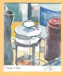 watercolour of a coffee plunger
