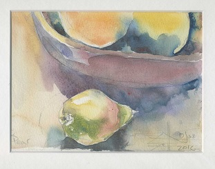 Watercolour of a pear