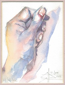 Watercolour of a hand