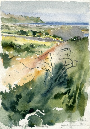Watercolour of False Bay from Helderberg Reserve