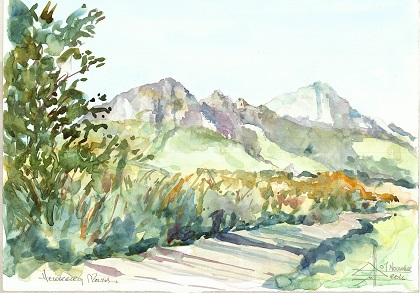 Watercolour painting of Helderberg from the reserve below