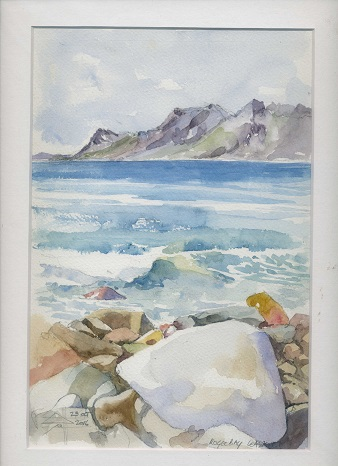 Watercolour of the rocks across the bay from Kogel Bay