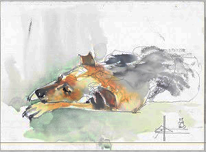 Watercolour painting of a pavement special doggie
