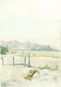 Watercolour painting of The Pipe Beach