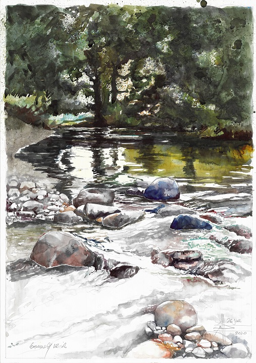 Watercolour of a forest and a river runs through it