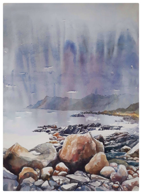 Watercolour of rocks near Kogel Bay
