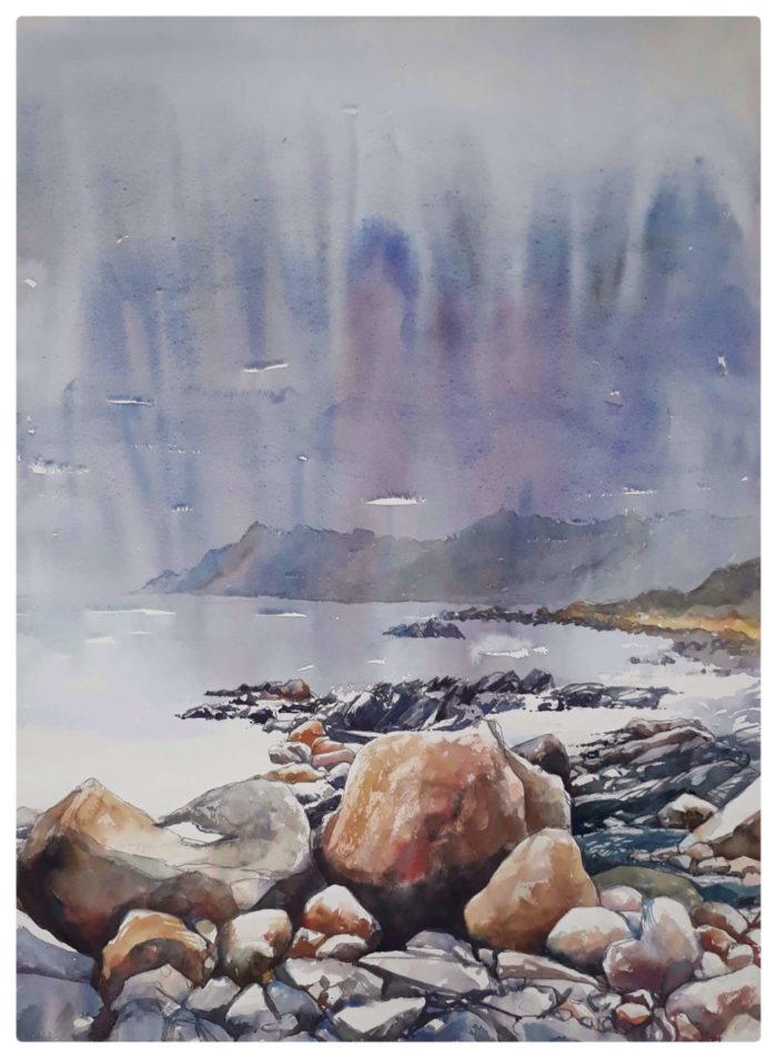 Watercolour of rocks near Kogel Bay