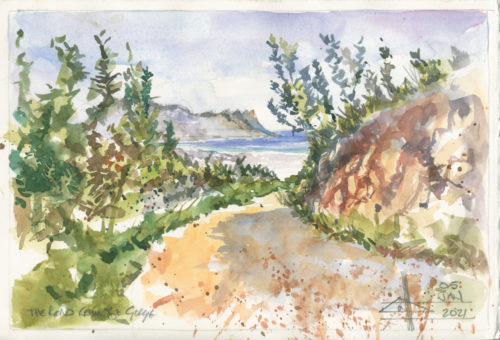 watercolour of a road and a bay