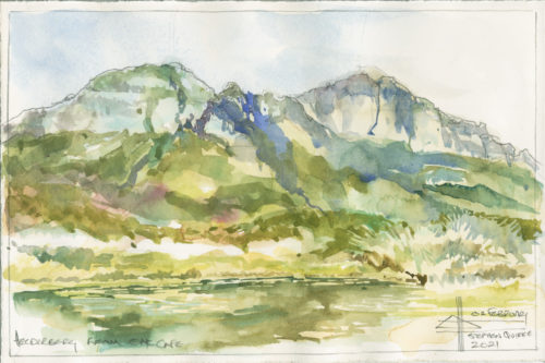 Watercolour painting of Helderberg from the Duck Pond