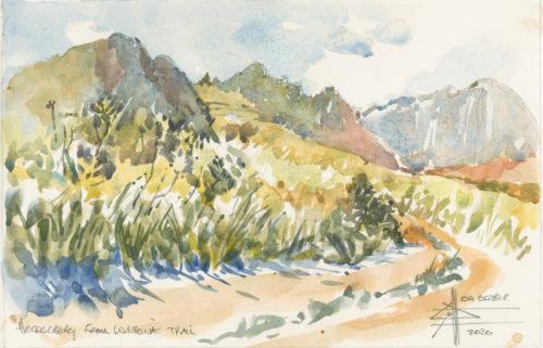 Watercolour of Helderberg from Watsonia Trail