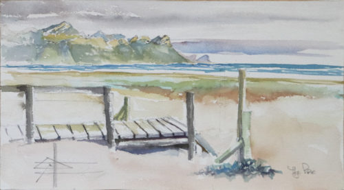 Watercolour of the Gordon's Bay mountains from The Pipe