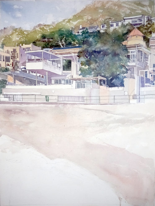 watercolour of a house on the beach
