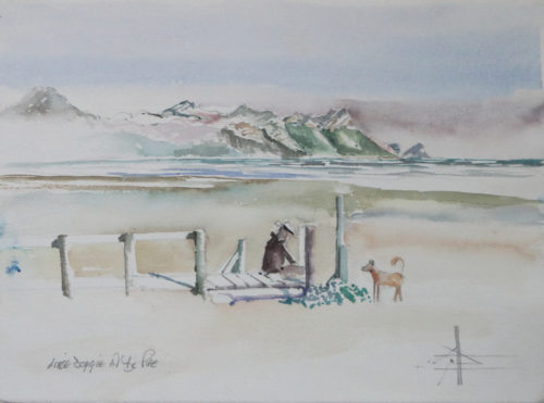 Watercolour of a man with his dog at The Pipe