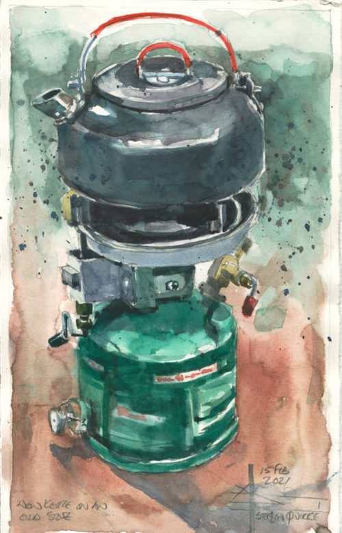 Watercolour of a stove and a pot