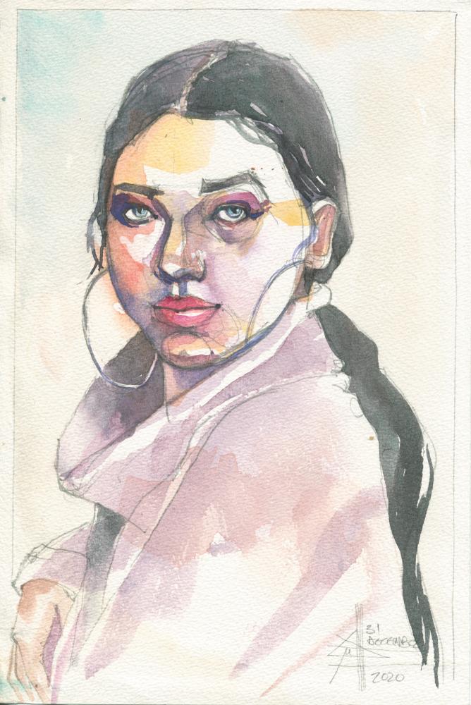 Girl with hooped earings