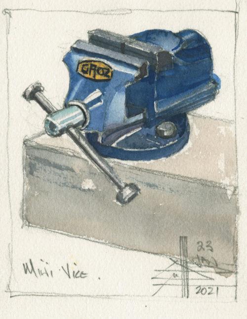 watercolour of a mini vice