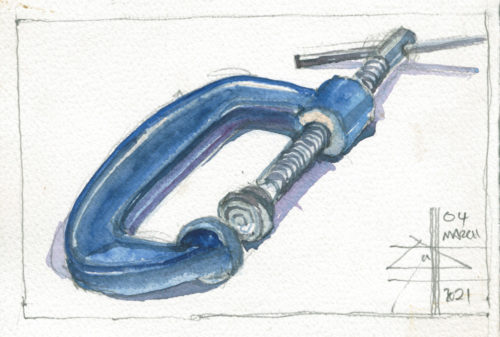 watercolour of tools