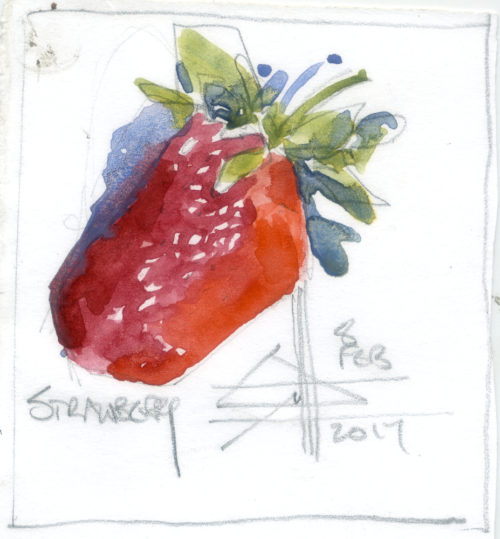 watercolour of a strawberry