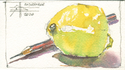 picture of a lemon and pencil - Render in watercolour - make it intriguing